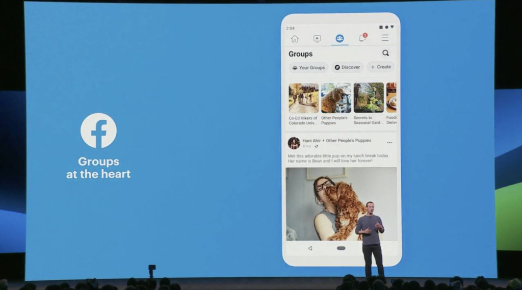 Mark Zuckerberg presenteert updates in de Facebook app tijdens het jaarlijkse F8 conference.