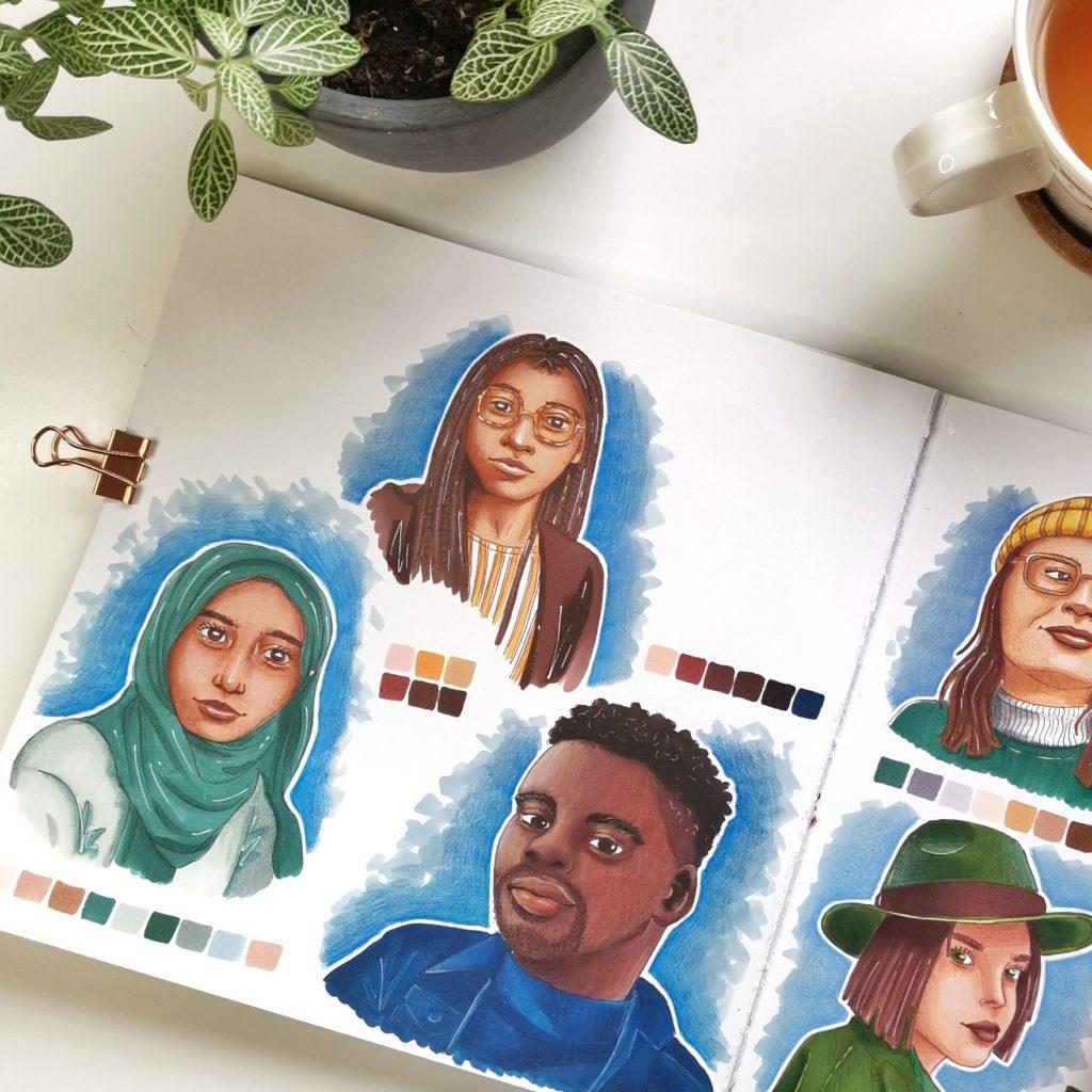 Illustrative portraits by Nienke Vletter